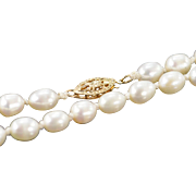 """14K 5.5mm Pearl Necklace 25"""" Yellow Gold"""