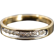 14K 0.13 Ctw Diamond Inset Wedding Ring Size 9.25 Yellow Gold