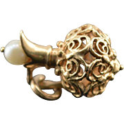 14K Vintage 3D Pearl Bead Accented Filigree Pitcher Charm/Pendant Yellow Gold