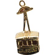 18K Vintage 3D Articulated 'Venezuela' Gondola Lift Charm/Pendant Yellow Gold