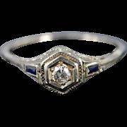14K Art Deco 0.22 Ctw Diamond Sapphire Filigree Engagement Ring Size 9 White Gold
