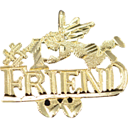 14K #1 Number One Friend Angel Charm/Pendant Yellow Gold
