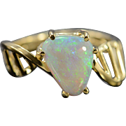 14K 1.25 CT Opal Modernist Ring Size 6.75 Yellow Gold