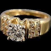 14K 0.85 Ct Round Diamond 1.09 Ctw Engagement Ring Size 4 Yellow Gold