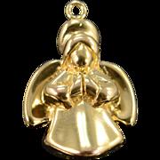 14K Puffy Praying Angel Religious Charm/Pendant Yellow Gold