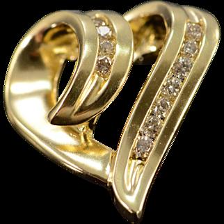 14K 0.33 Ctw Diamond Heart Cut Out Pendant Yellow Gold