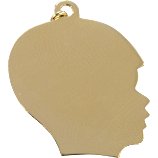 14K Engraveable Child Silhouette Boy Birth Charm/Pendant Yellow Gold