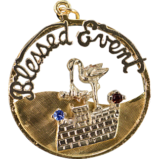 14K Born Baby Stork Vintage 'Blessed Event' Charm/Pendant Yellow Gold