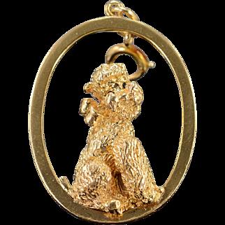 14K Heavy Oval 3D Poodle Vintage Charm/Pendant Yellow Gold