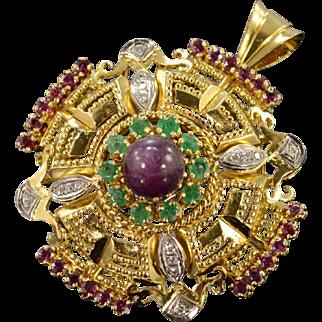 18K 10.40 Ctw Ruby Diamond Emerald Greek Key Pendant Yellow Gold