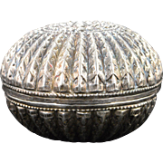 Sterling Silver Two-Piece Round Ornate Box