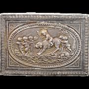 925 Sterling Silver Ornate Babies & Dog Floral Motif Box
