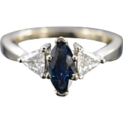 14K 1.80 Ctw Marquise Sapphire Trilliant Diamond Engagement Ring Size 8 White Gold