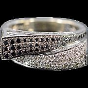 14K 1.00 Ctw Black & White Diamond Bypass Ring Size 8 White Gold