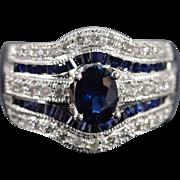 14K 1.92 Ctw Sapphire Diamond Designer Ring Size 7 White Gold