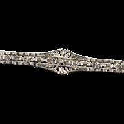 Victorian 10K Filigree Bar Pin/Brooch White Gold