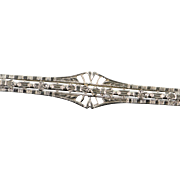 10K Art Deco Filigree Bar Pin/Brooch White Gold