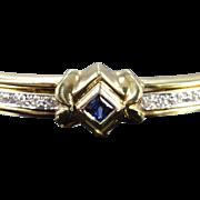 "14K 0.60 Ctw Sapphire Diamond Hinged Bangle Bracelet 2.5"" Yellow Gold"