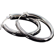 """14K 1"""" Hollow Hoop Oval Earrings White Gold"""