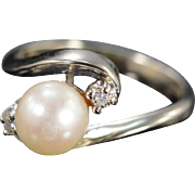 14K 7.5mm 0.06 Ctw Diamond Bypass Ring Size 8 White Gold