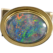 18K 16x12mm Oval Opal Cuff Link Yellow Gold