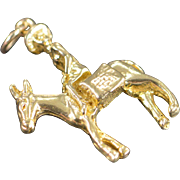 10K Don Keyote Donkey Man 3D Charm/Pendant Yellow Gold