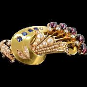 22K Victorian 3.50 Ctw Garnet Sapphire Seed Pearl Pin/Brooch Yellow Gold
