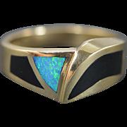 14K Inset Black Onyx Opal Ring Size 11.25 Yellow Gold