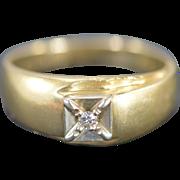 14K 0.06 Ct Diamond Men's Ring Size 10.5 Yellow Gold