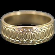 14K Engraved Interlocked Circles Ring Size 10 Yellow Gold