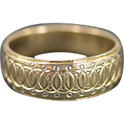 14K Engraved Interlocked Circles Ring Size 10 Yellow Gold