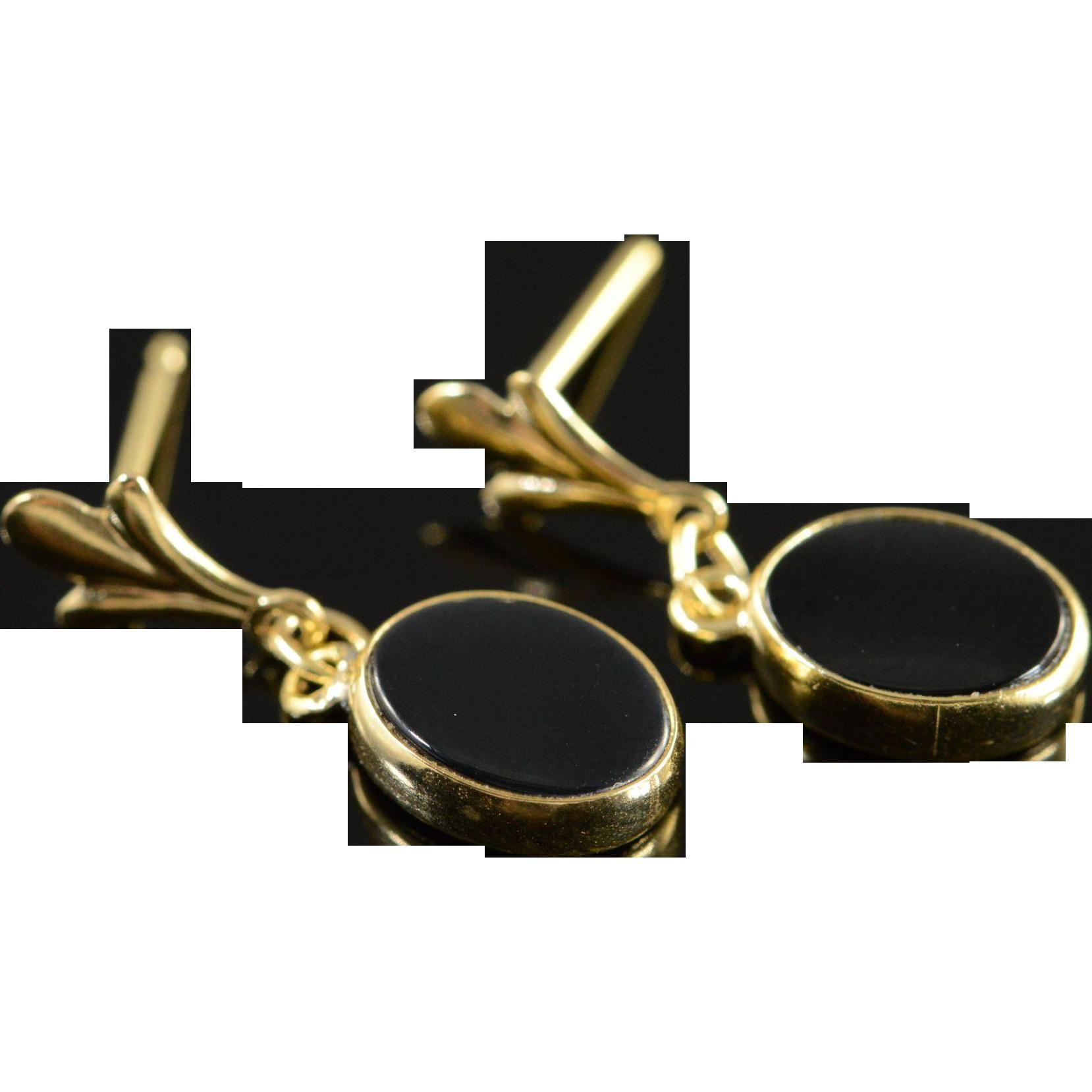 14K Simple Onyx Drop Earrings Yellow Gold from ...