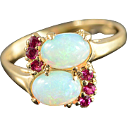 10K 1.20 CTW Opal & Ruby Vintage Bypass Ring Size 6.75 Yellow Gold