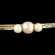 14K Art Deco Pearl & Diamond Pin/Brooch Yellow Gold