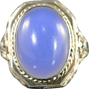 14K 8.00 Ct Chalcedony Cabochon Filigree Vintage Ring Size 4 White Gold