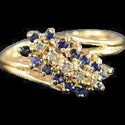 14K 0.35 Ctw Diamond Sapphire Waterfall Ring Size 3.75 Yellow Gold