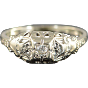 14K 0.08 Ct Old European Cut Diamond Vintage Solitaire Engagement Ring Size 6 White Gold
