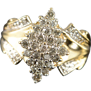 10K 0.58 Ctw Diamond Cluster Ring Size 7.5 Yellow Gold