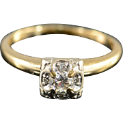14K Art Deco 0.25 Ctw Diamond Engagement Ring Size 7.5 Yellow Gold