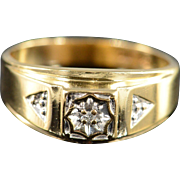 10K Diamond Accented Men's Ring Size 10.5 Yellow Gold