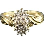 10K 0.20 Ctw Diamond Cluster Ring Size 7 Yellow Gold