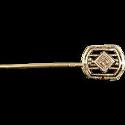10K Art Deco Diamond Accented Filigree Stick Pin Yellow Gold