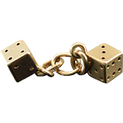 14K 3D Pair of Dice Vintage Charm/Pendant Yellow Gold