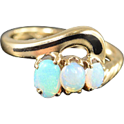 10K 0.75 Ctw Opal & Black Enamel Ring Size 5 Yellow Gold