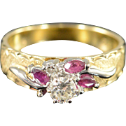 14K 0.25 Ctw Diamond Ruby Floral Motif Engagement Ring Size 5.75 Yellow/White Gold