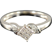 10K 0.20 Ctw Diamond Invisible Set Engagement Ring Size 5.25 White Gold [QPQC]