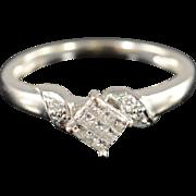 10K 0.20 Ctw Diamond Invisible Set Engagement Ring Size 5.25 White Gold