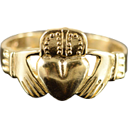 14K Men's Claddagh Ring Size 11.5 Yellow Gold