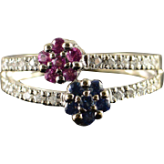 18K 0.50 Blue & Pink Sapphire Diamond Split Shank Ring Size 7 White Gold
