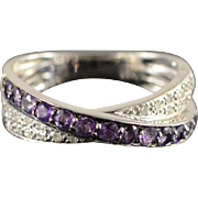 14K 0.60 CTW Amethyst Diamond Overlapping Ring Size 6, White Gold